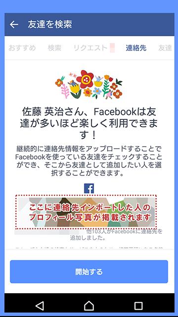Facebookの連絡先情報